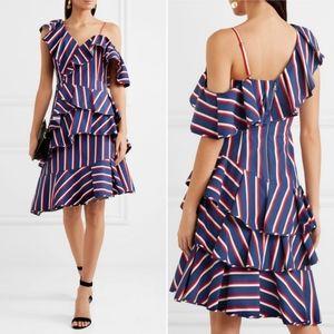 Alice+Olivia cold shoulder striped dress size 4